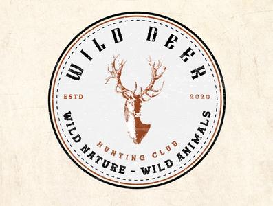 """Vintage logo design for Hunting Club called """"Wild Deer""""."""