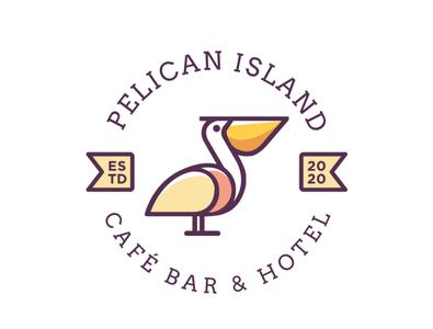 Pelican Island, Cafe Bar and Hotel logo badge design