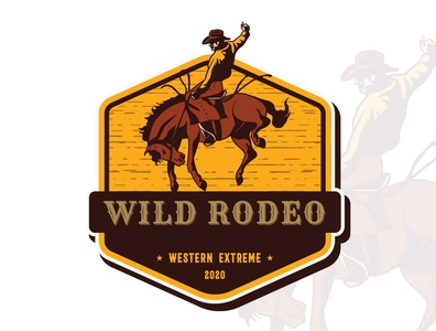 Wild Rode a western concept patch design logo designer patch design patch western australia western rodeo design branding logo graphic design