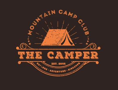 The Camper | Badge style illustration. graphic designers graphic designer logo designer logo design adventures adventure camper camping brand identity design logo branding graphic design