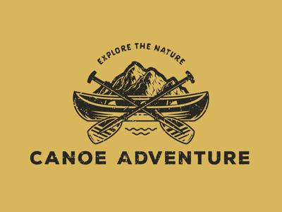 Canoe Adventure. A vintage illustration for rafting branddesign logodesigner logo camping logo camping adventure logo adventure nature logo nature canoe rafting