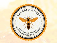 BeeMaid Honey, badge logo proposal vector typography brand identity design branding graphic design logo amsterdam netherlands honeycomb honey bee honey bee