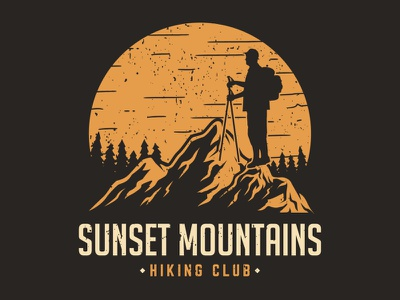Sunset Mountains. An illustration for hiking club logo designer illustration graphicdesigner graphic design outdoor logo outdoors outdoor adventure time adventure logo adventurer adventure mountain logo mountains mountain sunset logo sunset hiking