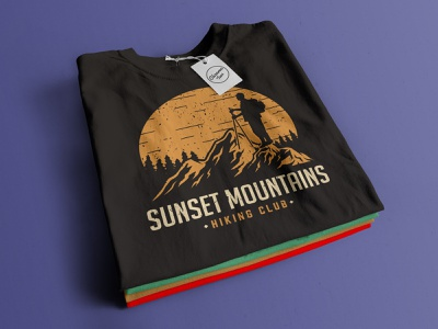 Sunset Mountains. An illustration for hiking club logodesigner graphicdesigner illustration outdoor logo outdoors outdoor adventure logo adventure time adventure hiking tshirt design tshirtdesign tshirts tshirt teespring tees design teesdesign teeshirt tee tees