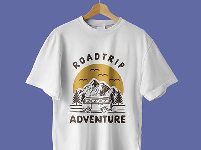 Roadtrip Adventure T-Shirt Design graphicdesigner graphic design logoideas logodesigner logomaker adventureillustration hikinglogo illustration outdoors outdoor adventurelogo adventure tshirtdesigner teespring tshirtdesign tshirt