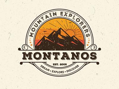 Montanos. A vintage badge logo concept for mountaineers outdoorslogo outdoor adventurelogo adventure branddesigner graphicdesigner logoinspiration logoideas logomaker logodesigner climbinglogo hikinglogo hiking mountaineer mountainlogo mountain