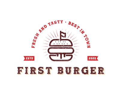 First Burger, a cartoon style burger vintage retro logo brandingagency branddesigner brandingdesigner graphicdesigner logodesigner logoideas logomaker foodlovers burgerlovers fastfood fastfoodlogo foodlogo food bugerlogo burger