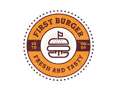First Burger, a cartoon style burger vintage retro logo branddesigner logoconcept graphicdesigner logoinspire logoideas logomaker logodesigner bbqlogo bbq foodlovers fastfoodlogo fastfood foodlogo food burgerlogo burger