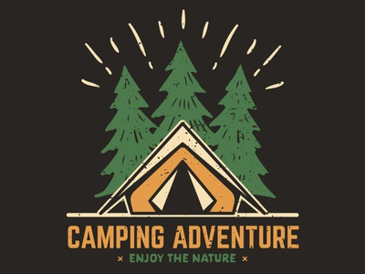 Vintage logotype concept for Camping adventures. graphicdesign graphicdesigner tshirtprinting print tees teespring teeshirt tshirtdesigner tshirtdesign tshirt outdoors outdoor adventurelogo adventurer adventure hikinglogo campinglogo camping hiking camper