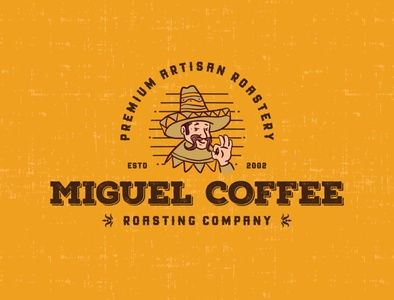 "Logo for a coffee roasting company ""Miguel Coffe"""