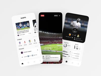 Score - Soccer App ui league news football club sports lineup football match mobile app mobile soccer football app goal valencia real madrid game stats sportening
