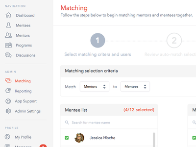Mentor Matching web app mentor user interface matching steps preview wip sketch