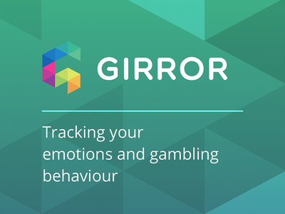 GIRROR brand logo splash triangles health hackathon green colour gambling branding landing app