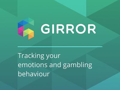 GIRROR brand logo splash triangles health hackathon green colour gambling branding landing app