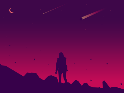 Before The End girl moon pink meteor sky silhouette illustration