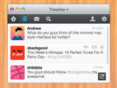 Mini Twitter for Mac mac app twitter ui