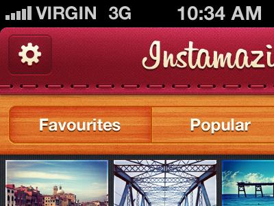 Instamazin' Preview ui mobile ios stitch wood instagram iphone