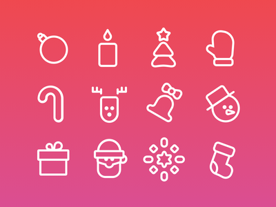 New Year Icons Set freebie odessa line flat illustration holiday christmas new year free vector set icons