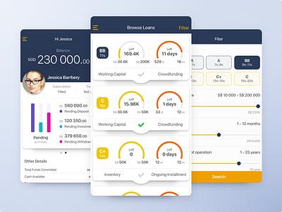 Finance app summary filter profile cards finance ios mobile