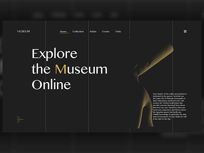 Museum Landing Page designer website webdesign uidesign minimal 3dmodel 3d ui design adobexd adobe animation museum