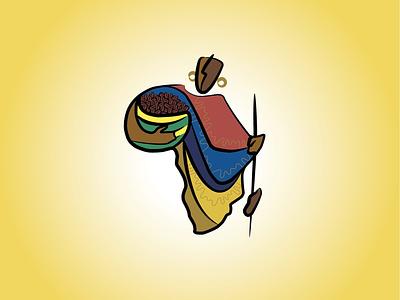AfriCoffee branding vector design illustration logos logo drink masai food sun coffee africa