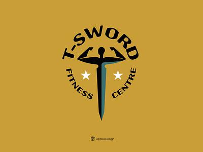 T Sword Fitness Centre silhouette letter t fitness bodybuilding sword