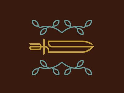 A Sword leaf gold security sword typo lettering letter s a