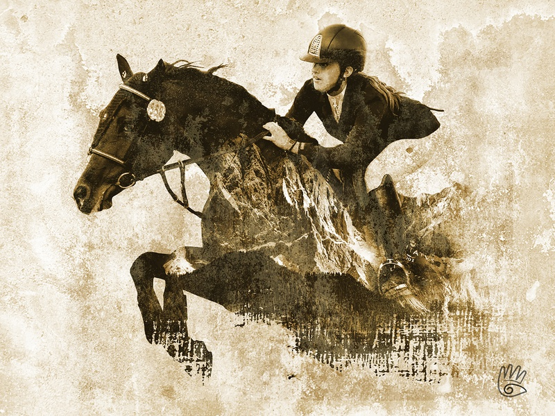 Fly High photoshop art photoshop mixer synthesis mixing photo editing equestrian rider jockey galloping fly horses horse