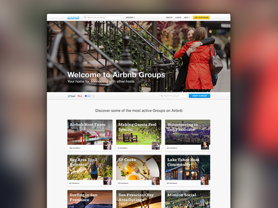 Airbnb • Groups homepage
