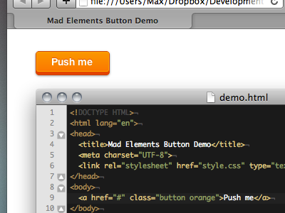 Mad Elements in pure CSS (3) button css3 madelements orange