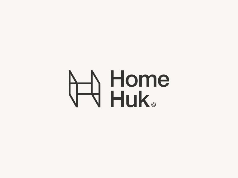 Homehuk home alone furniture home brain concept vector illustration typography minimalist minimal icon logo flat graphic deisgn graphic design branding