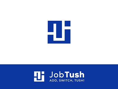 Jobtush job nj jt concept vector flat icon minimalist minimal logo graphic deisgn graphic design branding