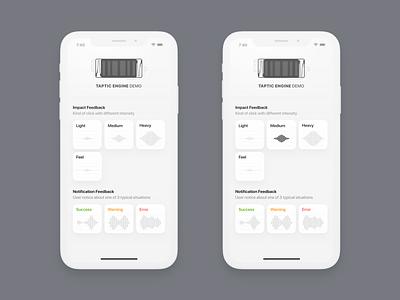 Taptic Engine Demo App [Concept] illustration button ux ui animation concept app ios