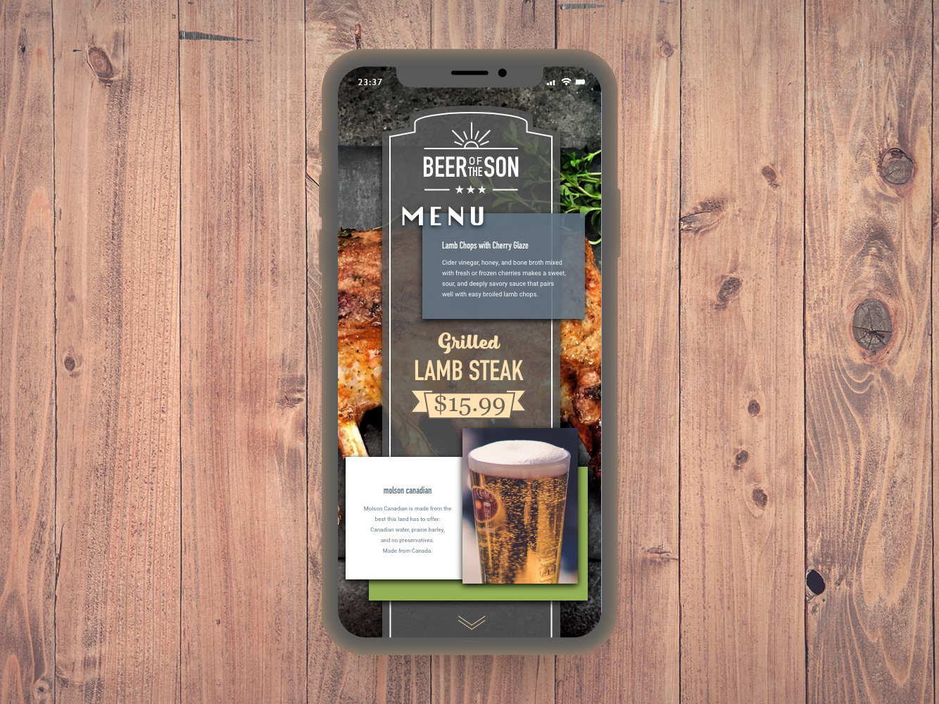 Food/Drink Menu photoshop ui design ux xd
