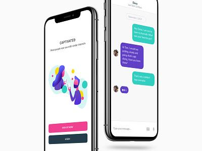Dating App UI xd illustrator messenger dating app flat design uidesign uiux