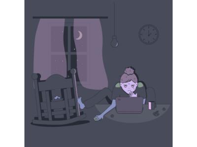 Self-portrait sleepless-night free-time child workhard hobby motherhood