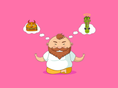 O-o-mmm...nomnom red-haired fat-man junk-food healthy-food hard-choice healthy-lifestyle diet meditation yoga