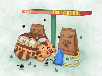 Catbus - My Neighbor Totoro fanart cartoon illustration anime susuwatari hayao miyazaki totoro catbus ghibli