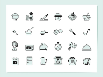 Cooking icons set icon design icon set iconography icon pack iconset icons vector illustration objects icon collection set cooking kitchen cook