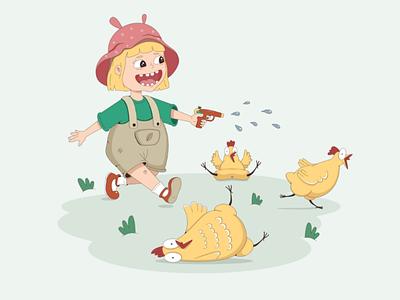 Chicken hunt 2d character 2d character design character comic hunt girl child cartoon chicken vector illustration