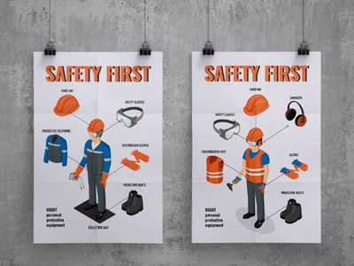 Work safety posters isometric industry nuclear power station npp work safety industrial ppe personal protective equipment poligraphy illustration vector banner poster