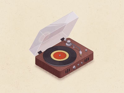 Vinyl player 3d retro record player player vinyl record isometric isometry 2d vector illustration