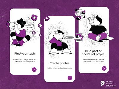 Onboarding illustration for Pholey app man application onboarding girl ui app design 2d vector illustration