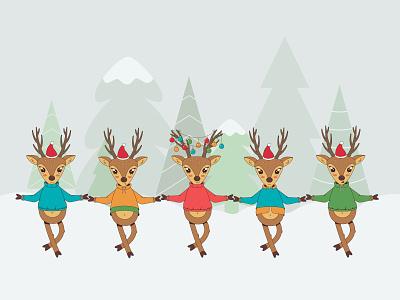 Dancing deers winter new year christmas deers child character cartoon 2d vector illustration
