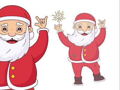 Santa new year santa santa claus 2d christmas character cartoon vector illustration