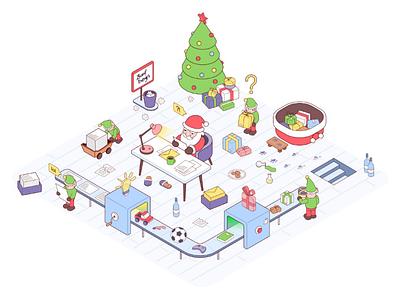 Santa's workshop (update) workshop new year christmas elf santa cartoon character isometric 2d vector illustration
