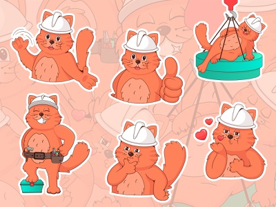 Cat Builder - sticker pack construction cat sticker branding design character cartoon 2d vector illustration