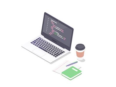 Isometric programming laptop freelance workspace programming code isometry isometric design 2d vector illustration