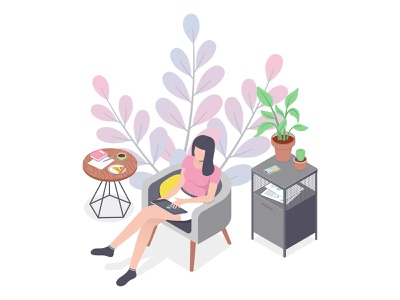 Home office isometry freelance girl remote work home office isometric design 2d vector illustration
