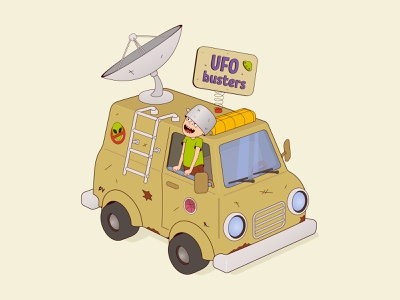 UFO busters imagination game boy child aliens buster ufo car 3d 2d character cartoon vector illustration